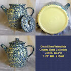 HENN POTTERY BLUE SPONGEWEAR COUNTRY HOME COLLECTION COFFEE / TEA POT 2 QT NEW!