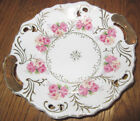 Vintage Lefton Rose Garden Handled Small Cake Plate gold dish