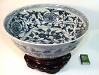 Blue & White Chinese Hand Painted Porcelain Floral Bowl with Stand 14 1/2