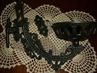 VINTAGE ANTIQUE ORNATE  CAST IRON HURRICANE OIL LAMP CANDLE WALL SCONCE HOLDER