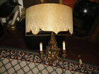 Vintage French Victorian Style Candelabra Wall Sconce-Brass Metal-Shade-Electric