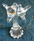 Vintage Crystal Clear GLASS LOVE BIRDS on a Branch Paperweight