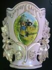 Stunning Osborne China Hand Painted Pink 22 K Gold Base Courting Couple Antique