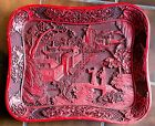 Fine Old Chinese Large Carved Red Cinnabar Tray Landscape Lacquer Scholar