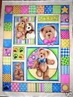 BOYDS BEAR FABRIC PANEL BABY QUILT TOP WALL HANGING COLORFUL FABRIC SPECTRIX NEW