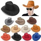 Mens Cowboy Faux Suede Leather Hat Wide Brim Western Outback Hats