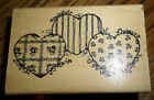 Hooks Lines And Inkers 1993 Country Heart Trio Wooden Rubber Stamp