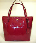 New COACH F32581 Peyton Signature Embossed Leather Tote Handbag Cranberry