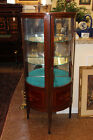 MINT! Inlaid Edwardian Bow Front Glass Door Petite China Display Cabinet C1900