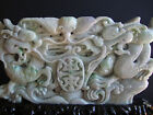 Chinese Large Carved on 2 Sides Jade Jadeite Apple Green Colors Dragon