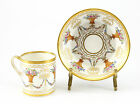French Porcelain Hand Painted Floral Basket Cup & Saucer; Gilt. 18th Century