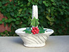 Vtg Handmade Capodimonte Ceramic Candy Dish White Basket Holly Leaves Christmas