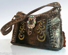 New Montana West Trinity Ranch, Embossed Western Hobo w/ Leather Front- Coffee