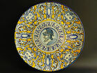 Large signed antique italian Majolica Charger Deruta Greek Warrior ca. 1880-1890