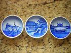 Set of 3 Antique Blue & White Denmark Mini Plates - Decorative & Collectible