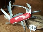 Red Wenger Swiss Army PocketGrip multi-tool folding knife with case