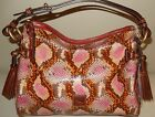 New Dooney & Bourke Python Embossed Leather Hobo Bag Pink