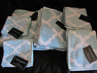 NEW!! Cynthia Rowley Quatrefoil Aqua & White 6 PC BATH TOWELS Bath- Hand- Wash