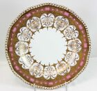 STUNNING RARE COALPORT CHINA Z5365 PLATE HAND PAINTED RAISED GOLD ENCRUSTED PINK
