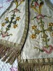 ANTIQUE  FRENCH    EMBROIDERY  RELIGIOUS STOLE 18  TH-CENTURY METALLIC CROSSE
