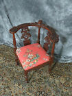 MAHOGANY ORNATE CORNER CHAIR VINTAGE CARVED
