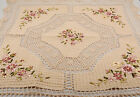HAND MADE RIBBON EMBROIDERY CROCHET LACE TABLECLOTH TABLE TOPPER COTTAGE CHIC