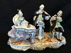 antique porcelain : Nice Dresden group of musicians . With Mark + Germany