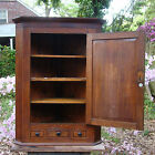 CORNER CUPBOARD CABINET ANTIQUE ENGLISH OAK MAHOGANY HANGING INLAY SHELL DRAWER