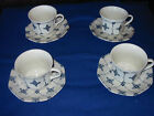 4 Cups & Saucers J&G Meakin Royal Staffordshire Blue & White Ironstone England