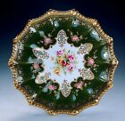 RARE ANTIQUE AYNSLEY HAND PAINTED PORCELAIN JEWELS GREEN GOLD CABINET PLATE!