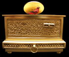 Vintage German Karl Griesbaum Singing Bird Automaton Brass Filigree Music Box