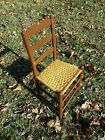 Antique Painted Wooden Ladder Chair with Handwoven Cord Seat - Good Shape!