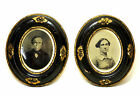 Pair oval painted frames gilt embellishments, original photos, late 19th century