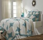 Summerhill Queen Quilt by VHC Brands - Teal and Creme