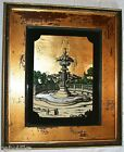 ANTIQUE REVERSE PAINTED GLASS FOUNTAIN SCENE WITH ANTIQUE GOLD FRAME
