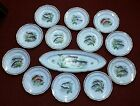 13 piece Fish Set Made in France Hand Painted 24