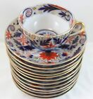 FULL 12 SETS GILT IMARI ANTIQUE WAHLISS PIRKENHAMMER CUPS SAUCERS COBALT GOLD