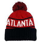 ATLANTA Two Tone Pom (Red/Black) Cuffed Bubble Knit Beanie Skull Cap
