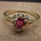 Magic-Glo Branded Teardrop Ruby Eye Diamond Lash 14K Yellow Gold Ring size 9.5