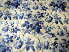 VIntage  1970 Waverly Blue Rose Toile BLUE AND WHITE BEAUTIFUL FABRIC! RARE