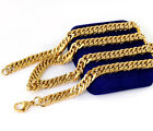 Bright Gold Tone 316L Stainless Steel Cuban Chain Men's Necklace 23.6in