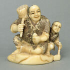 Antique Japanese Cow Bone Netsuke - Father & Son Carving HH0626