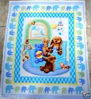 SWEET BEGINNINGS baby fabric panel HENRY GLASS blue quilt top FREE SHIP NEW