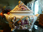 Antique HUGE Tureen Signed Capodimonte Naples N CENTERPIECE Covered Bowl 15x12