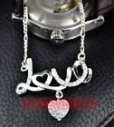 NEW STERLING SILVER Necklace LOVE Pendant Heart Crystal Charm Chain 19