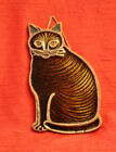 Cat Trivet or Wall Hanging Victoria Littlejohn Ceramics Hand Made Pottery Brown