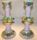 Pair of Vintage Hand Made / Painted Lamp Bases / Candlesticks ITALY Fruit Motif