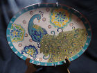 Dutch Wax Peacock Platter Hand Painted Turquoise  Feather Decorative Ceramic
