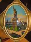 1917 Reverse Painting Bubble Glass Framed  Statue Of Lady Liberty New York