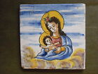 vintage or antique hand painted Italian majolica tile w/ Modonna and child